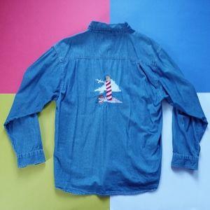 Vintage Embroidered Lighthouse Denim Shirt